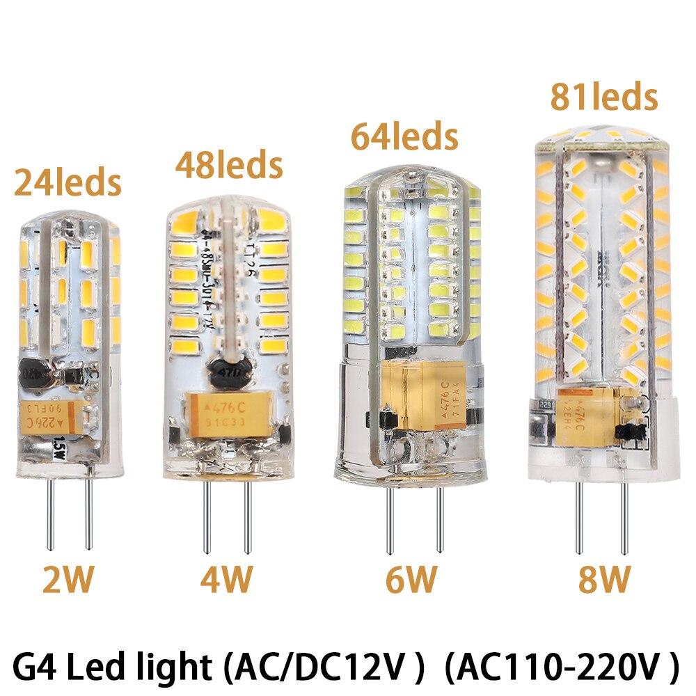 Led Lamp Replace Halogen-Light Silicone-Bulb Leds 220V G4 SMD3014 2W 4W 6W 8W AC/DC12v AC110V-220V