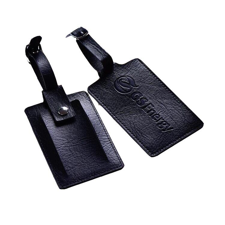 Étiquette de bagage de voyage en cuir PVC personnalisée avec fond de carte nominative