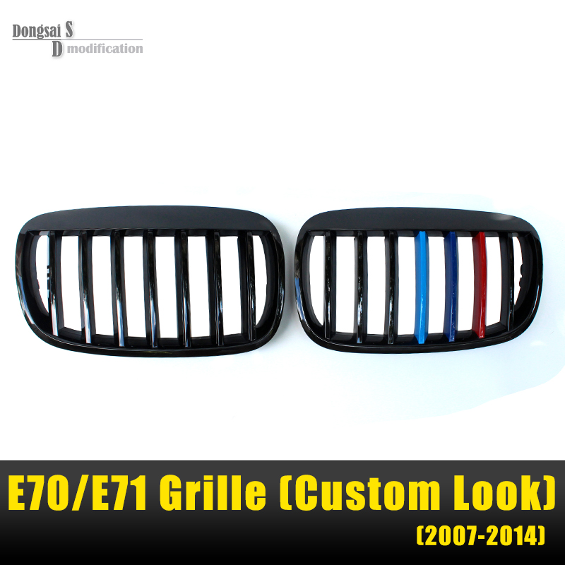 X5 E70 Front Kidney Custom Gloss Black ABS Grill Grille Fitting For BMW X6 E71 E72 2007 - 2013 SUV High Performance M Color replacement bumper grill kidney grille front grid for bmw x5 e70 x6 e71 2007 2014 abs material replacement grid front hood