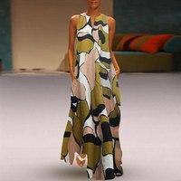 Vintage Printed Maxi Boho Dress Summer Elegant Geen Loose Sleeveless V Neck Beach Dress Plus Size Long Dress Casual Summer 5XL