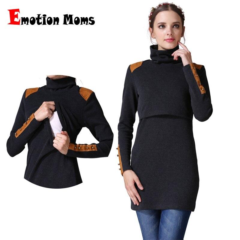 180fbc29a La emoción de las madres de cuello alto ropa de maternidad de enfermería  lactancia materna vestidos embarazo ropa para mujeres embarazadas maternidad  ...