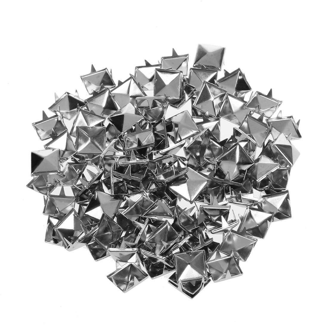 100 шт. 10 мм Кожевенное ремесло DIY Металл Панк Шипы пятна Пирамида Шпильки Goth-серебро