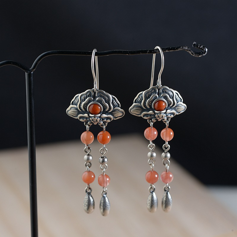 FNJ 925 Silver Flower Earrings for Women Jewelry Red Stone 100% S925 Sterling Silver boucle d'oreille Tassel Drop Earring pair of stylish red tassel drop earrings for women