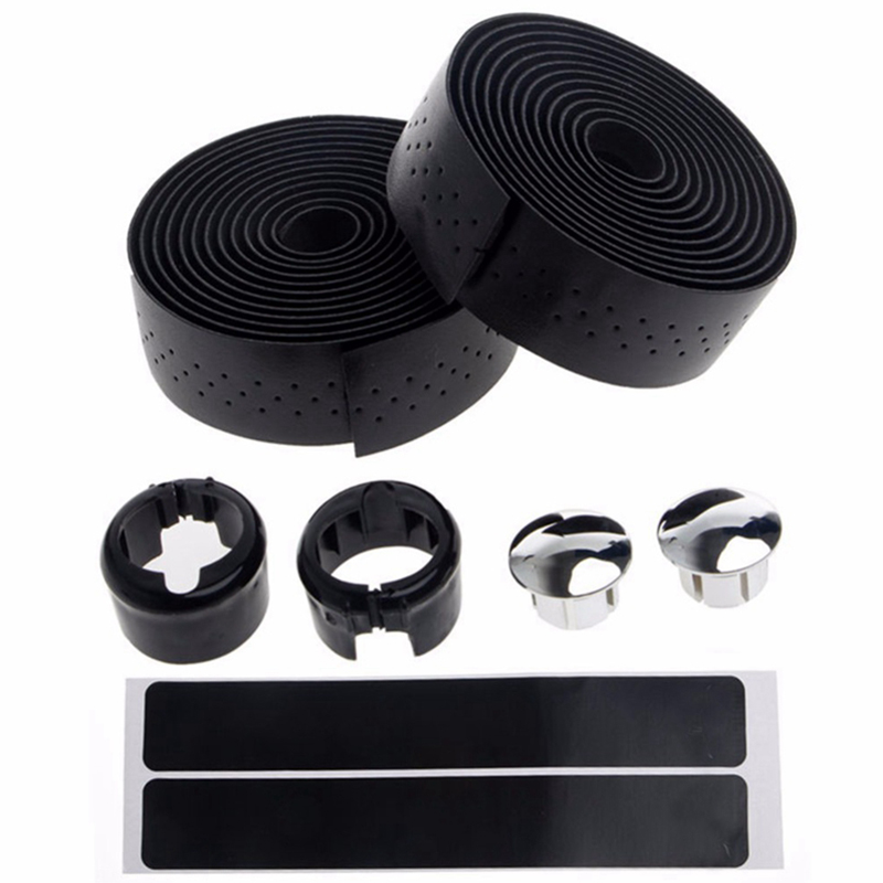 1 Pair Pu Leather Cycling Road Bike Bicycle Handlebar Tape Belt Reflective Grip Wrap Anti-Slip Anti-Sweat Strap With 2 Bar Plu