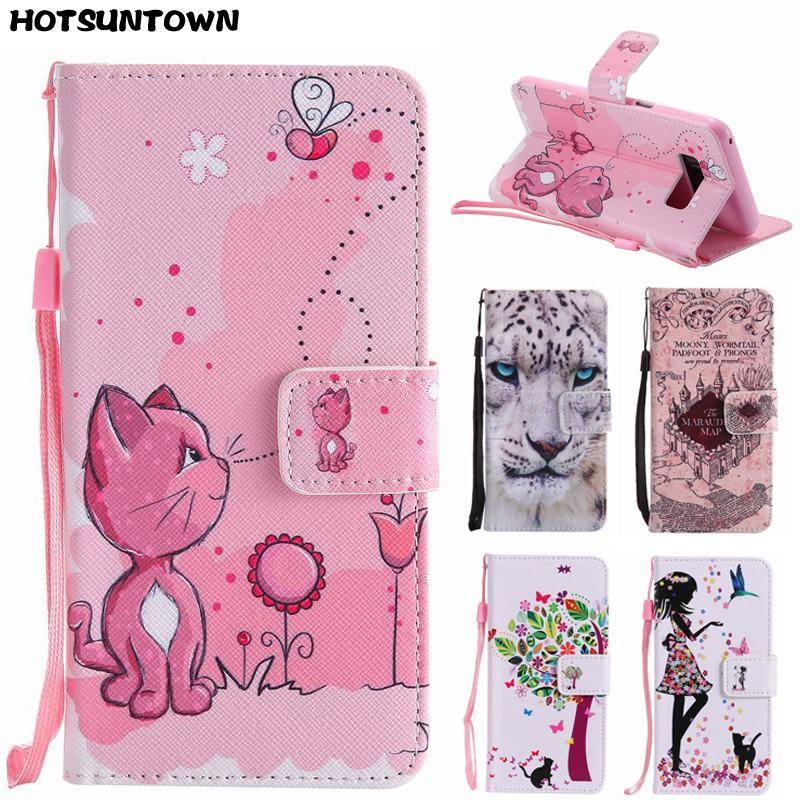Galleria fotografica For Coque Samsung Galaxy S8 Case Leather Wallet Flip Magnetic Painted Cute Cat Phone Cases For Samsung Galaxy S8 Plus Case Cover