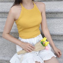 Summer Womens Sexy Knitting O Neck Stretchy Camis Tank Tops Girls Knitted Camisole Sleeveless T shirts Top Female