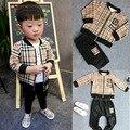Novo casual xadrez Bebê Menino Define roupas de frio crianças meninos crianças Fatos de Treino meninos da criança roupas conjunto menino J0138