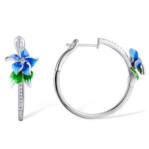 Image 3 - SANTUZZA Silver Earrings For Women 925 Sterling Silver Blue Flower Hoop Earrings Silver Cubic Zirconia brincos Jewelry Enamel