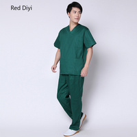 Scrub uniforms dentistry Surgical Gown suit Medical clothing for men green Short Sleeve Summer Workwear