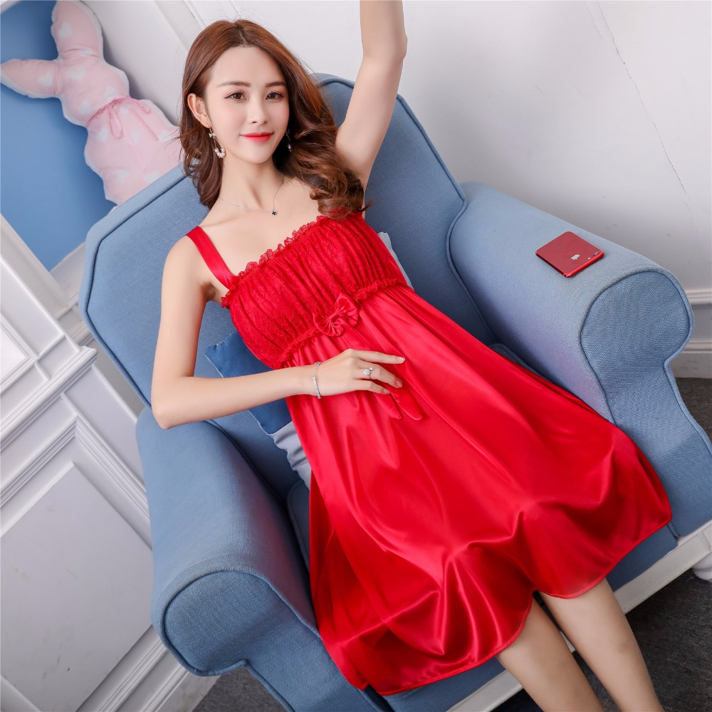 Women Nightgowns Satin Lace Sleepwear Nightwear Pyjama Women Home Clothing Sleepwear Female Nightdress Sexy Lingerie Gown Robe