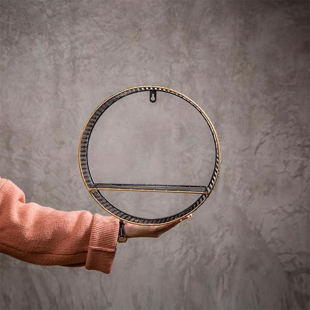 Etagère murale ronde métal bois 3
