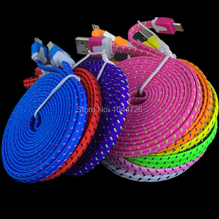 100pcs lot 2M 6FT Flat Fabric Braided Woven Micro cable Accessory Bundles For samsung s3 s4