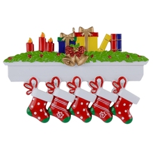 Personalized Mantel Stockings Family Ornaments of 5 Christmas 2015 Gifts