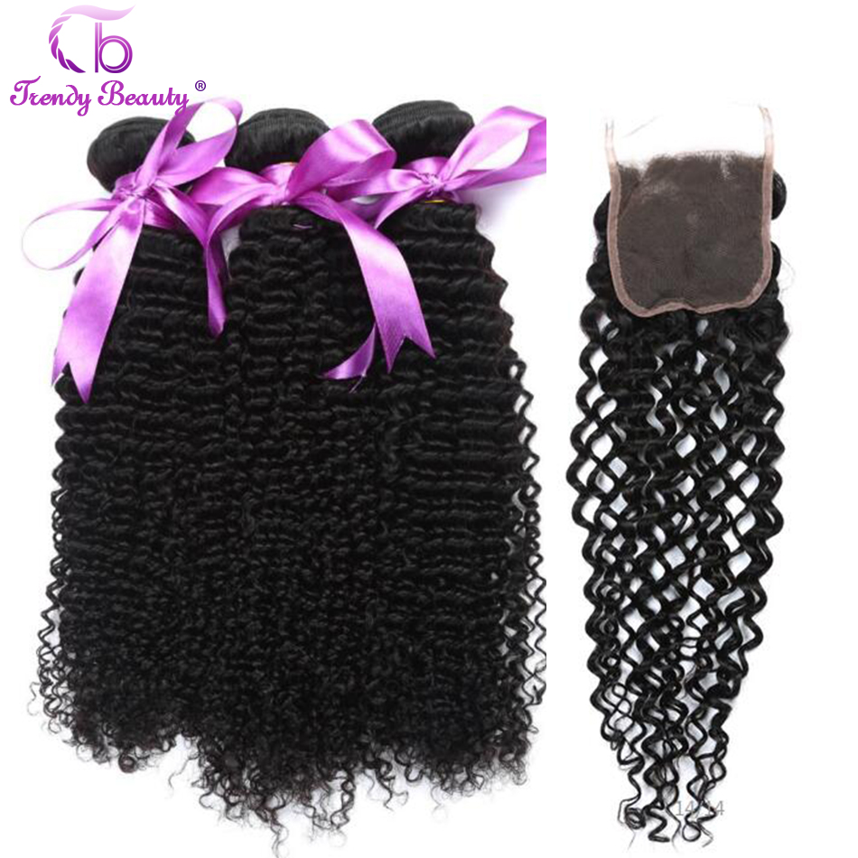 Peruvian Kinky Curly 4 Bundles with Lace Closure Natural Black Color Hair Weave Human Hair Non-Remy Trendy Beauty 8-28 inches