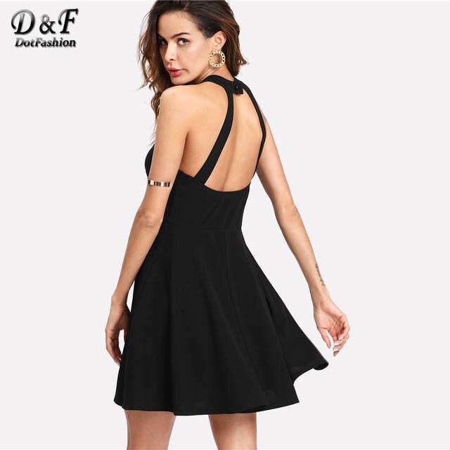 4b0d44689d530 Dotfashion Mesh Yoke Open Back Skater Dress 2019 Female Black A Line Button  Short Dress Halter Sleeveless Fit And Flare Dress
