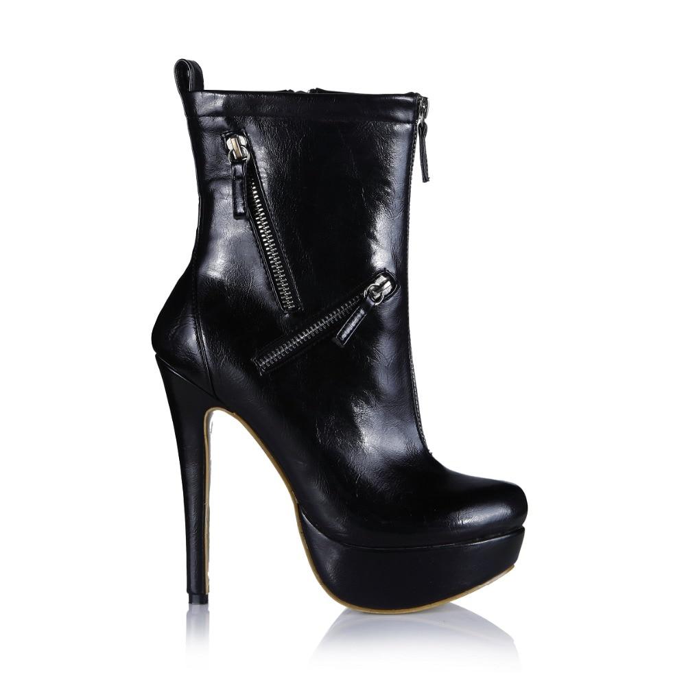 Dame Mujer Botas Dans 2018 Botte Chaussures Courte Cheville Talons Mince Réel Pu Moitié Sexy Bottes D'hiver Le Limitée Mode Temps Chaud Noir Solide vxwgqZPxn