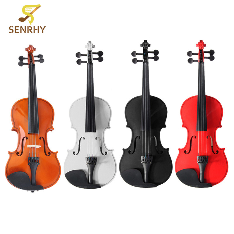 SENRHY 4 Color 1/2 Natural Acoustic Wooden Violin Set With