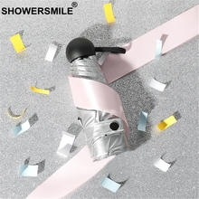 SHOWERSMILE Mini Pocket Umbrella Women Sliver Coating Female Outdoor Sunny And Rainy Small Uv Protection Parasol
