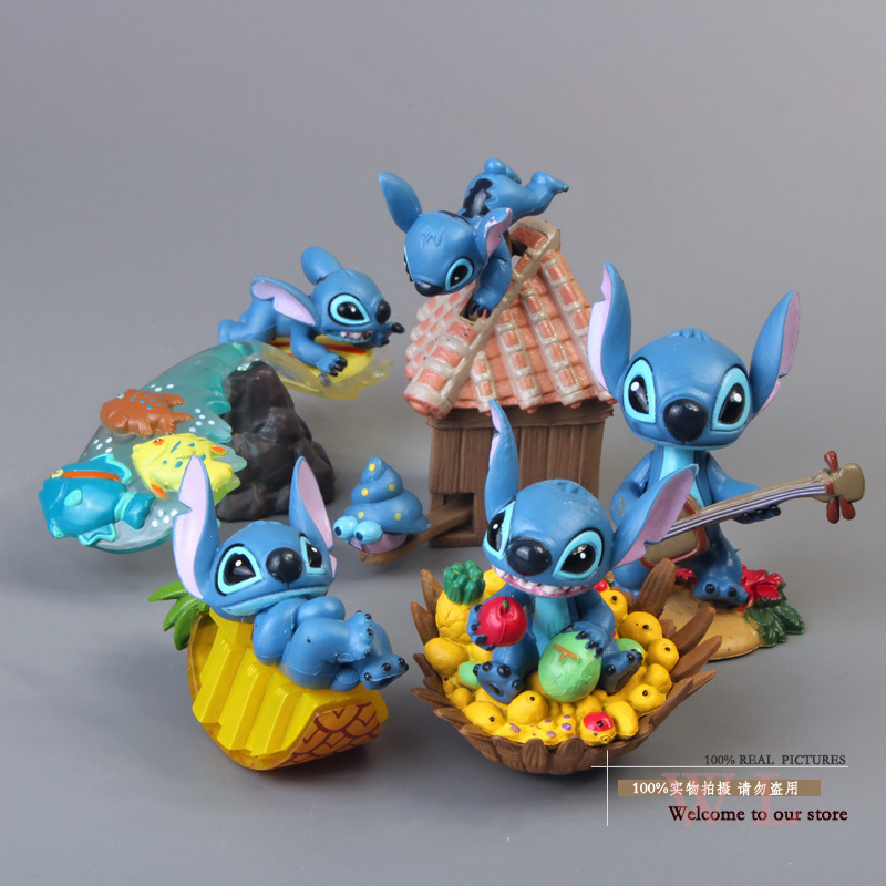 Free Shipping Cute Mini Lilo & Stitch PVC Action Figure Collection Model Toys Dolls 5pcs/set Christmas Gift STFG006 6 pcs set the powerpuff girls action figure toys cute cartoon blossom bubbles buttercup model pvc dolls kids christmas gift