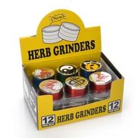 12pcs Display Box Mini 42mm Herb Grinder 3 Parts Randomly Color and Pattern Sharp Teeth Hand Muller Spice Herbal Smoking Grinder