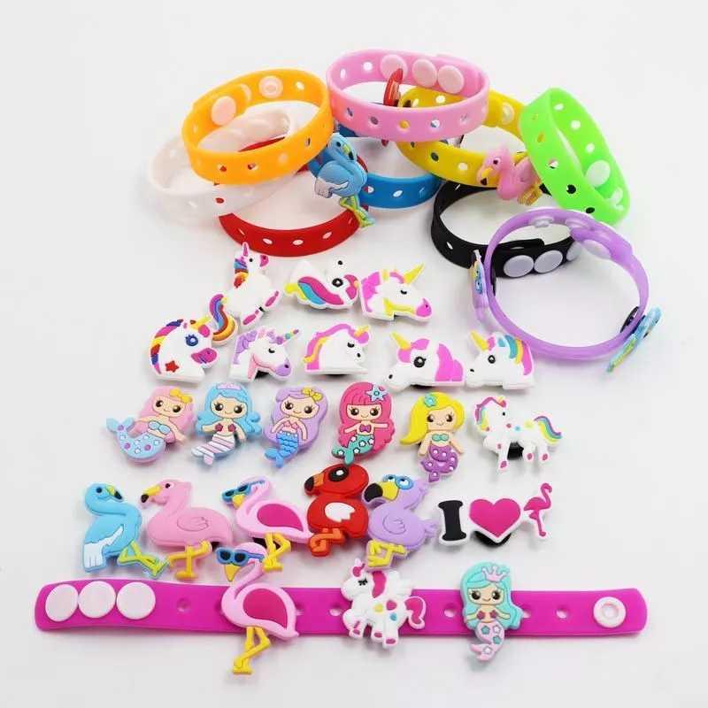 Anak-anak DIY Gelang Silikon Unicorn Ornamen Sepatu Pesona Putri Duyung Flamingo Dekorasi Gelang Hadiah PVC Gelang Mainan Perhiasan