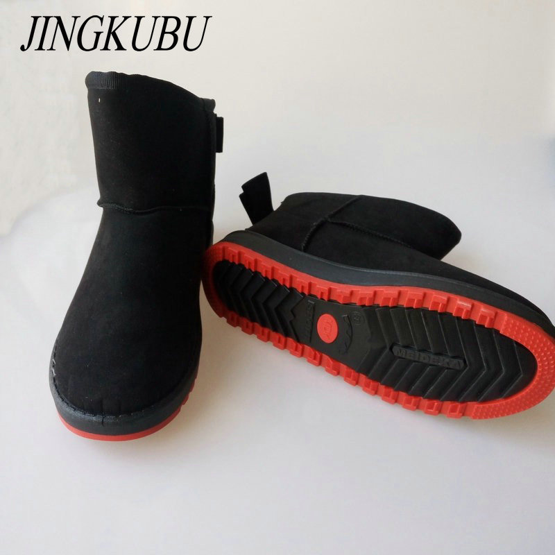 JINGKUBU Women Boots Shoes Winter Warm Butterfly-knot Ankle Snow Boots Women Plush Femininas Snow Boots Female Boots Warm Shoes zorssar 2017 new classic winter plush women boots suede ankle snow boots female warm fur women shoes wedges platform boots