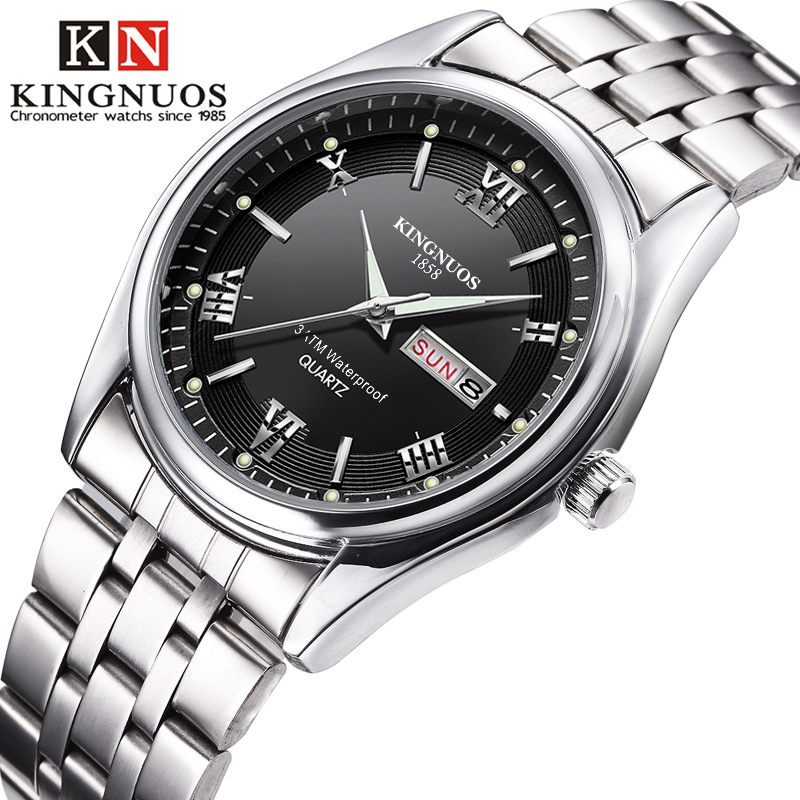 Quartz-Watch Date Business Stainless-Steel Male Waterproof Luxury Brand Analog-Display