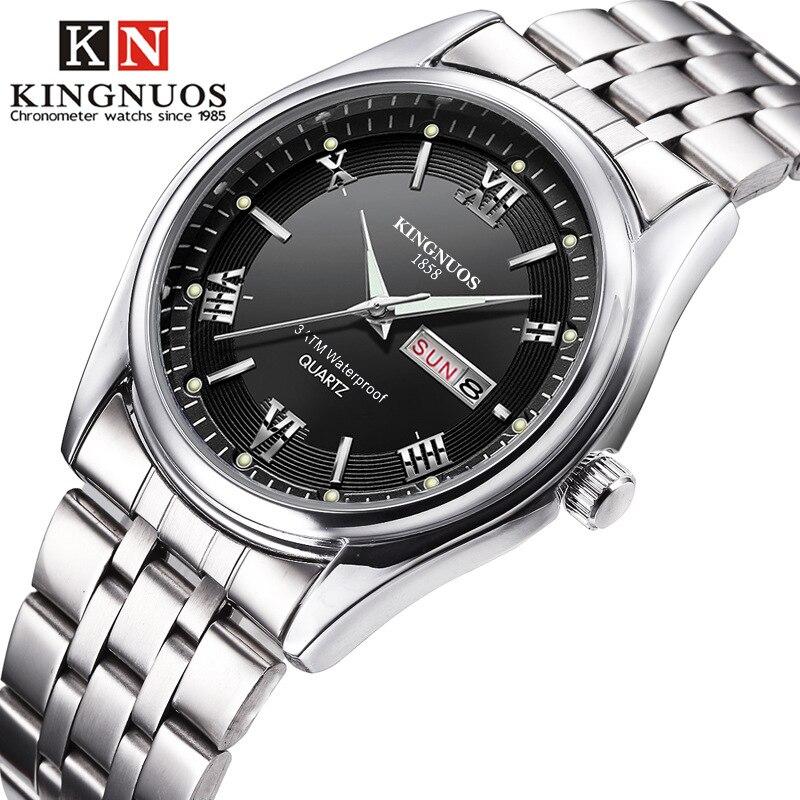 Relogio masculino marca de luxo aço inoxidável analógico display data semana à prova dwaterproof água relógio de quartzo masculino negócios relógios de pulso