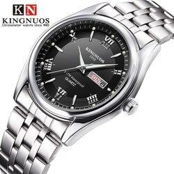 Relojes de pulsera de hombre de negocios de cuarzo resistentes al agua de Semana de fecha de visualización analógica de Acero Inoxidable marca de lujo Relogio Masculino