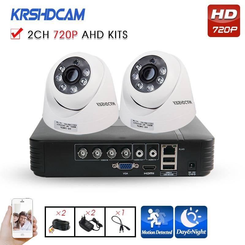 KRSHDCAM 4CH AHD DVR Security CCTV System 20M IR 2PCS 720P CCTV Camera indoor Waterproof Camera Home Video Surveillance Kit