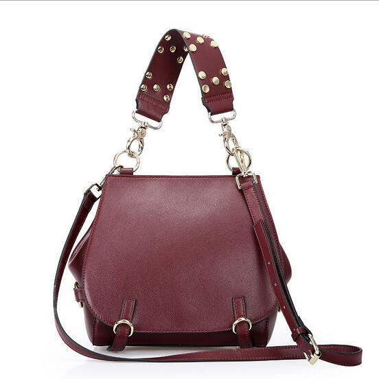 Brand Design Genuine Leather Women Handbag Fashion Rivet Strap Ladies Shoulder Bag Crossbody Bag for Women bolsa feminina 2017