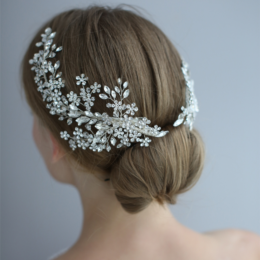 Image 5 - Exquisite Rhinestone Headband Clip Wedding Hair Accessories Bride  Headband Floral Hair Vine Garland Luxury Crystal HeadbandHair Jewelry