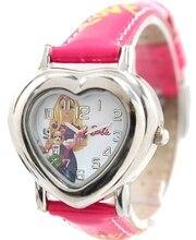 Muñecas de la Historieta del cabrito Dial Corazón Nuevo Caso de Rosa Band PNP Plata Brillante caja de Reloj Reloj de Los Niños KW052E