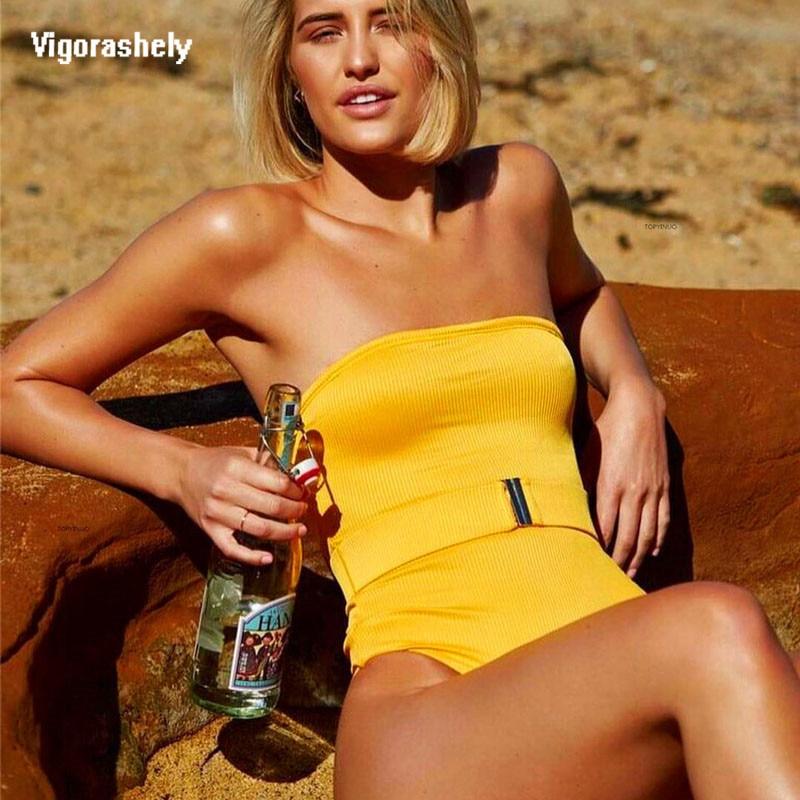 Vigorashely Sexy Yellow One Piece Swimsuit Women Bandeau Swimwear 2019 Solid Bathing Suit Strapless Brazilian Monokini Bodysuit