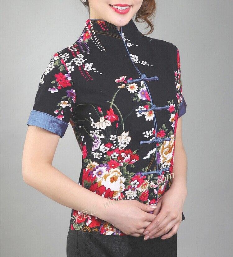 Новое поступление черные Винтаж китайский Для женщин хлопковая рубашка с v-образным вырезом Топ Рубашка с короткими рукавами цветок Размеры S M L XL XXL XXXL Mny-003B - Цвет: Черный
