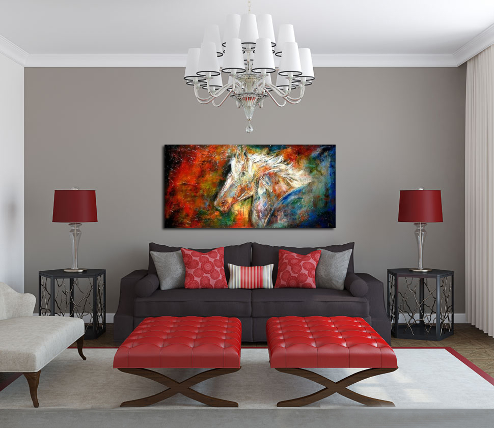 Hand-painted Modern Abstract Knife Palette Animal Hores Equine Oil Painting on Canvas Stallion DIY Hang Picture Craft Decorative