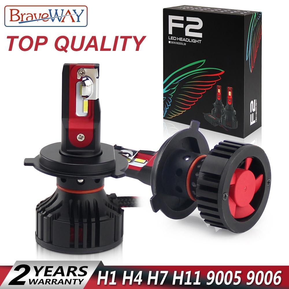 BraveWay H4 LED Headlight Car H1 H7 H8 H11 9005 HB3 9006 HB4 Turbo Led Bulbs for Auto Ice Lamp 12000LM H7 Led Canbus Car Light