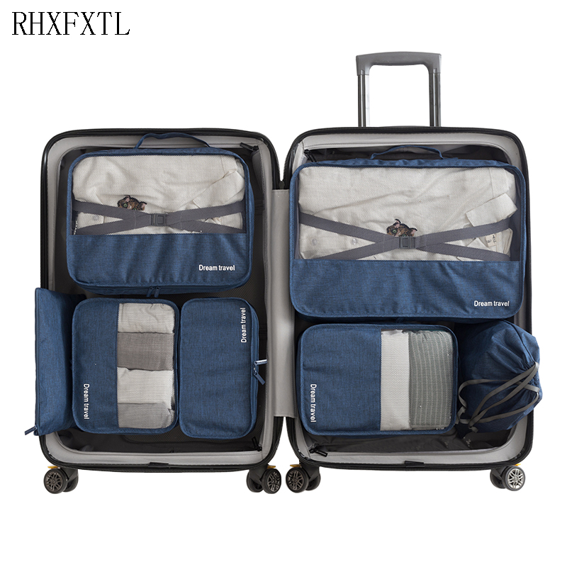 RHXFXTL Fashion Brand 7 Piece Set Sort Out Bags Packing Organize Travel Unisex Clothing Sorting Organize Bags Travel Accessories