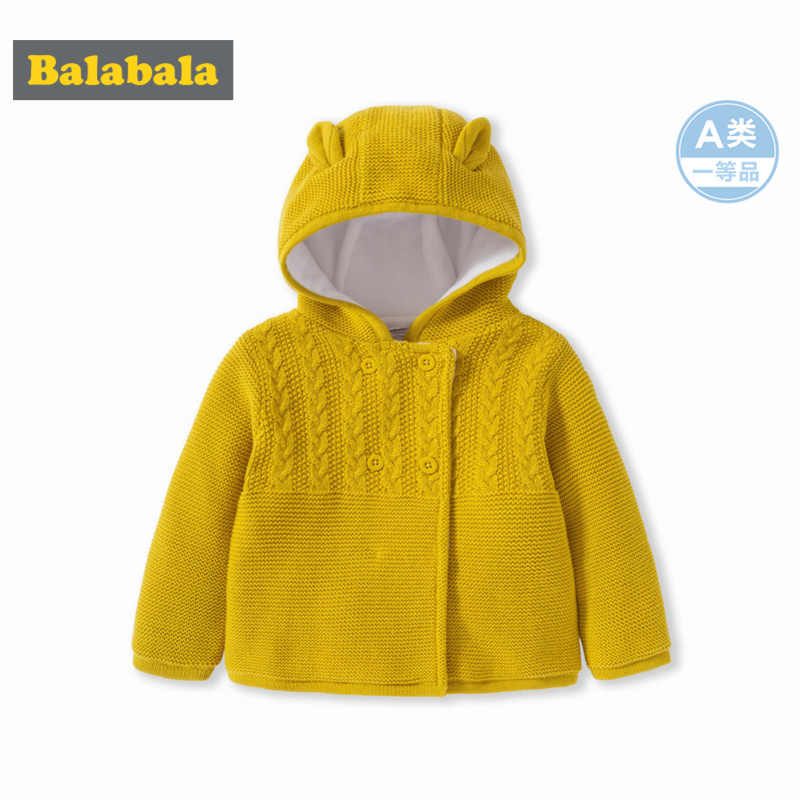 Balabala Infant Baby Fleece-Lined Critter Hooded Jacket in Textured Knit Newborn Baby Girl Boy 100% Cotton Jacket with Hood