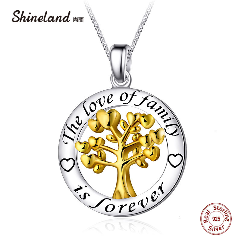 Shineland Real 925 Sterling Silver Family Tree of Life Necklace Women Circle Round Pendant Charm Letter Collars Mother's Gift universal dual female usb output car charger white
