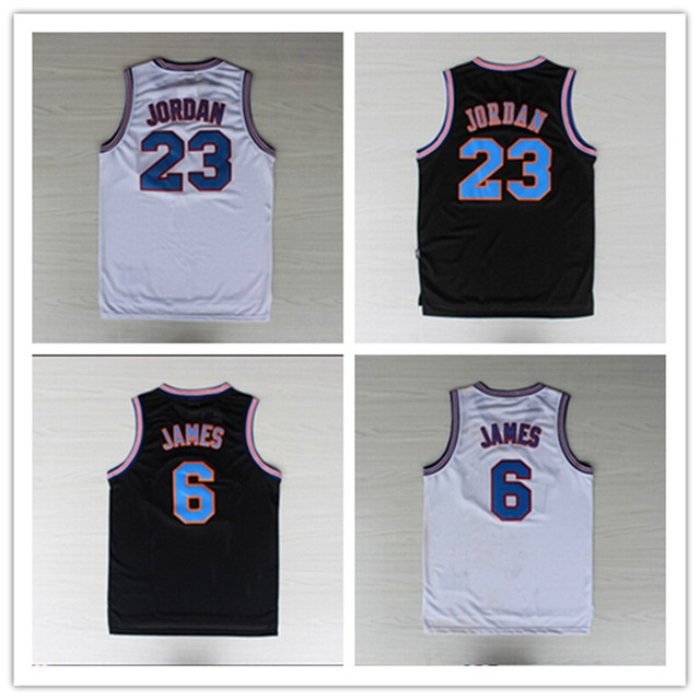 ab2606ea7aae Basketball Jersey LeBron James 6 Michael Jordan 23 Tune Squad Jersey Black Jordan  Space Jam Jersey