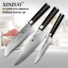 XINZUO 3 PCs kitchen knife set Japanese VG10 steel kitchen knife Damascus chef knife homely tool santoku knife free shipping