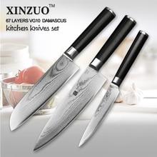 XINZUO 3 PCs kitchen knife set Japanese VG10 steel kitchen knife Damascus chef knife homely tool santoku knife free shipping
