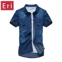 Estate Jeans Camicie Uomo Manica Corta Moda Casual In Cotone Denim Cowboy Camicia Sociale Slim Fit Camisa Masculina X120