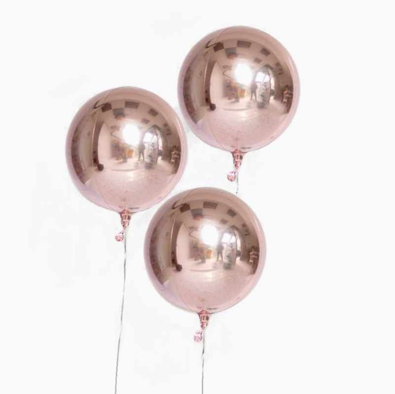 20pcs 10inch Metallic Dimensional Rose Gold Silver Foil 4D Balloons Wedding Birthday Party Decor Helium Inflatable Globos Supply