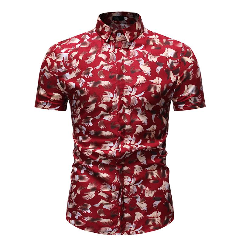 Casual Shirt For Man Fashion Print Short Sleeve Mens Dress Shirts Summer Hawaiian Beach Blouse Men Black Red Navy