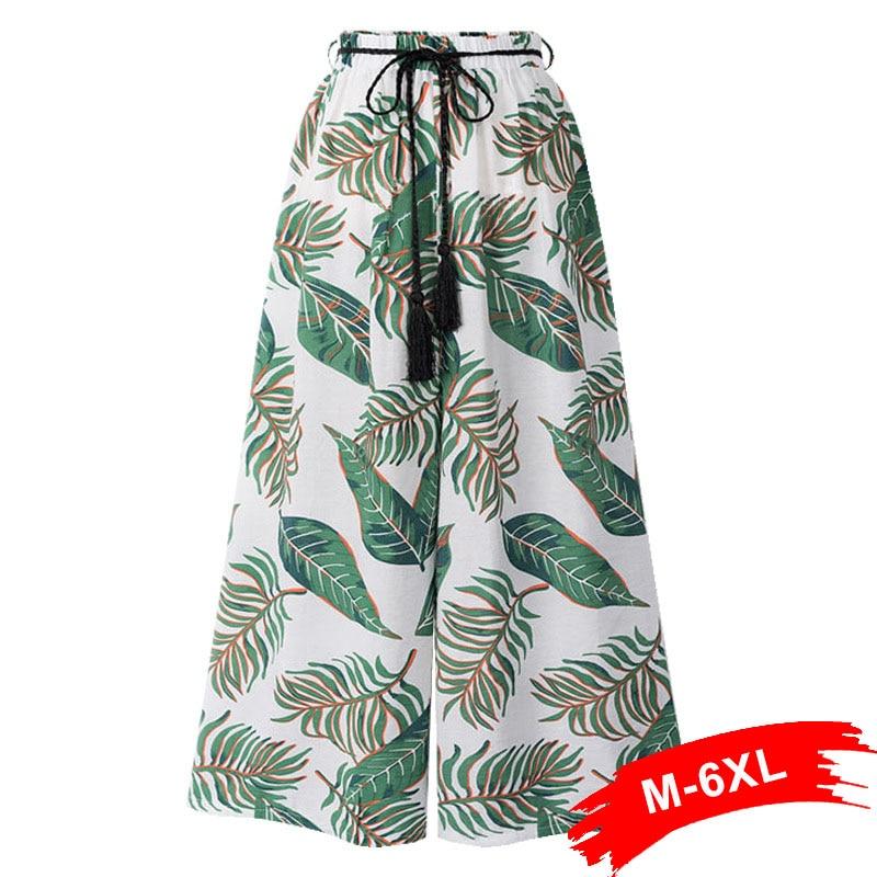Plus Size Tropical Print Wide Leg   Capris   Beach   Pants   3Xl 4Xl 6Xl Summer Sash Elastic Drawing Waist Ankle Length Trousers