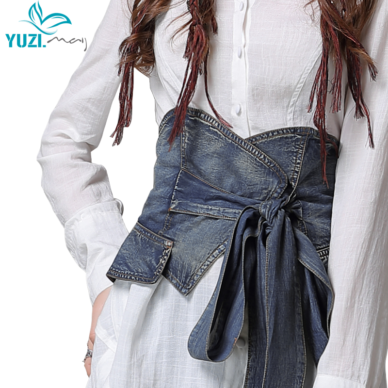 Female Belts 2018 Yuzi.may Boho New Denim Belt For Women Skinny Drawstring Skin Friendly Cummerbunds B9256