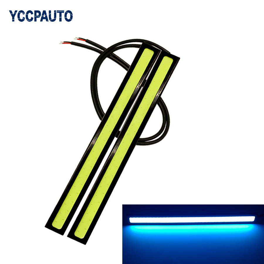 DRL Daytime Running Lights Fog Light 17CM LED COB car styling Waterproof Bar Driving Lamps White Ice Blue Accessories 2pcs flexible bandable straight line cob drl daytime running lights dc12v 16w high power white e4 waterproof car fog lights
