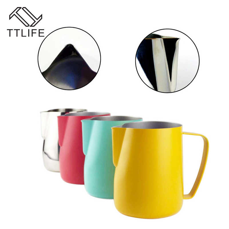 TTLIFE Milk Jug 0.3-0.6L Stainless Steel Frothing Pitcher Pull Flower Cup Coffee Milk Frother Latte Art Milk Foam Tool Coffeware